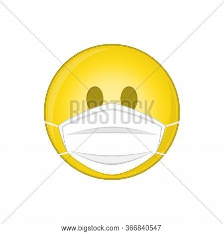 Emoji With Medical Mask In Flat Style. Smile Emoji Wearing A Protective Surgical Mask. Icon For Coro