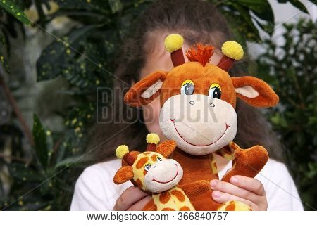 The Girl Holds A Soft Toy Giraffe In Front Of Her Face. The Concept Of Childhood. Lonely Child.