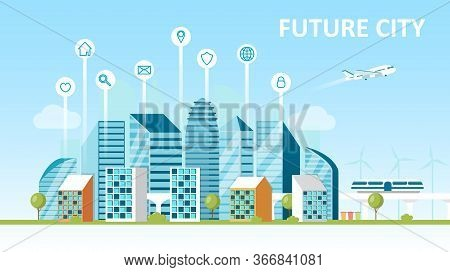 Smart City Concept. City Of The Future. Landscape With Skyscrapers Modern Technology. Hyperloop Sort