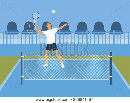 Tennis Player Participates In Competitions. Behind Him Are The Stands. A Man In Tennis Clothes Throw