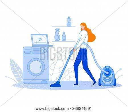 The Woman Cleans At Home. Housewife Is Vacuuming. Uses The Video. Keeps The House Clean And Tidy. Di