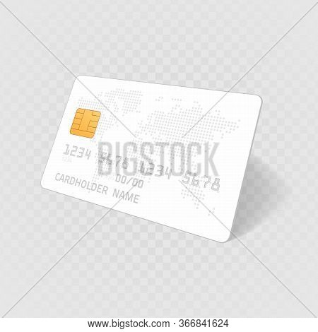 Mockup Credit Card With Worlds Map. Empty Plastic Card Template Isolated On Transparent Background.