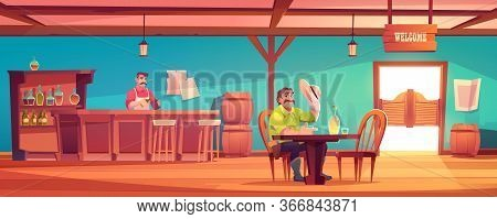 Western Saloon With Cowboy And Barman Behind Counter. Vector Cartoon Interior Of Wild West Tavern Wi