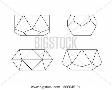 Flower Pots Outline. Vector Set Of Trendy Geometric Minimal Planters. Different Polyhedron Shapes
