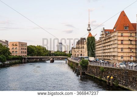 Berlin, Germany - July 27, 2019: Scenic View Of Spree River And Museum Island With Monbijou Bridge,