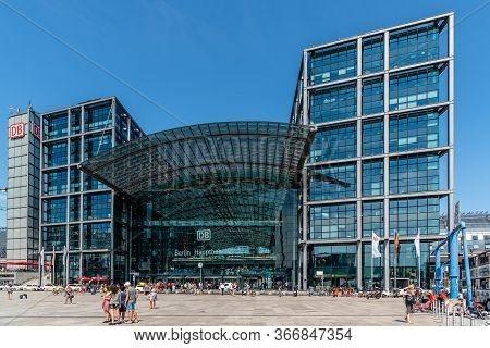 Berlin, Germany - July 28, 2019: Central Train Station In Berlin. Berlin - Hauptbahnhof. Modern Glas