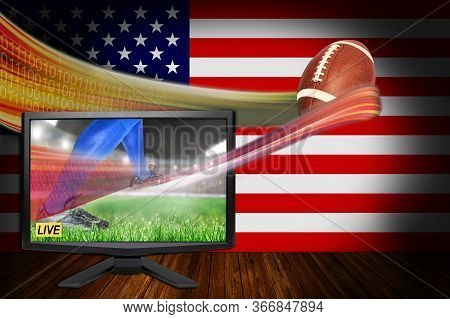 3d Rendering Of American Football Sports Live Concept With Tv Monitor Showing Latest Vr Streaming Te