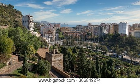 Malaga Spain Panorama Landscape Cityscape And View Of The Coast, The Sea, The Bullring Arena And The