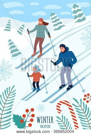 Happy Young Family On Winter Vacation. Skiing At The Ski Resort. Family Time Together In Winter. Ski