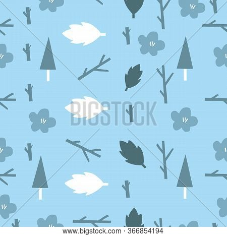 Big Bold Shapes Forest Nature Pattern With Flowers. Scandanvian Style Pattern. Simple Blue Bold Leaf