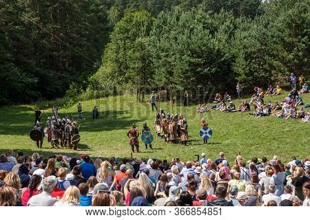 Kernave, Lithuania - July 7, 2018: Reconstruction Of The Medieval Battle During The Popular Festival
