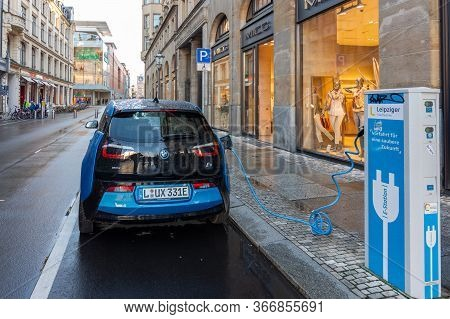 Leipzig / Germany - February 24, 2017: Bmw I3 Edrive Electric Car Charging At The E-station, Electri