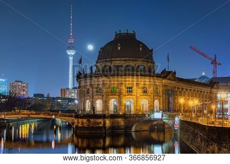 Berlin / Germany - February 13, 2017: Night View Of Bode Museum In Museumsinsel In Berlin With Berli