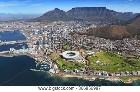 Aerial Photo Of Cape Town Cbd, V&a Waterfront, Table Mountain And 2010 Soccer Stadium.