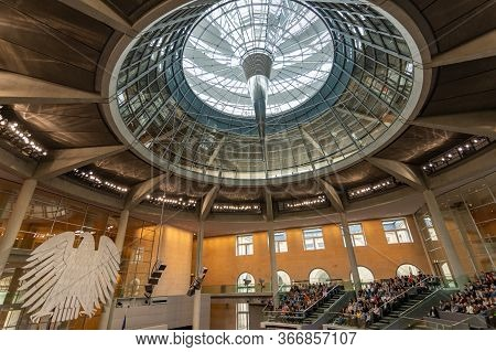 Berlin / Germany - February 22, 2017 - German Reichstag, Main Hall Of The German Federal Parliament