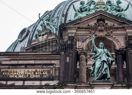 Berlin / Germany - February 18, 2017: Facade Details On The Berlin Cathedral (berliner Dom) In The M