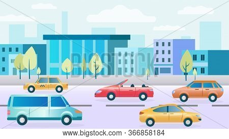 City Street With Cars. Modern Houses, Shops, Sidewalks. Highway Traffic. Сars Collection. The Bustle