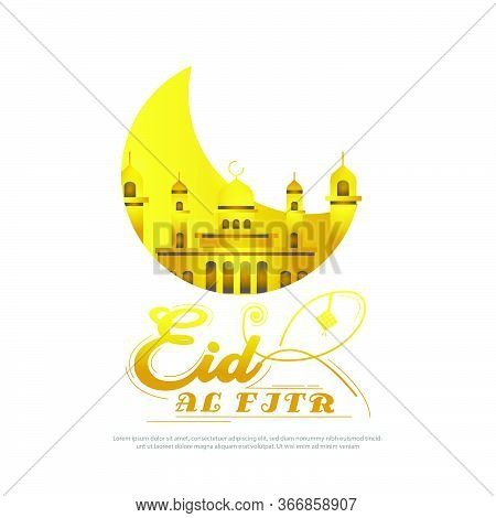 Golden Greeting Card Eid Al Fitr Design Vector Isolated On White Background