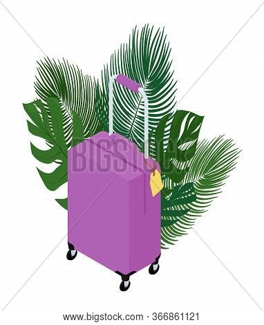 Pink Suitcase On Wheels Isolated On White. Isometric Suitcase. Tropical Vacation And Travel Concept