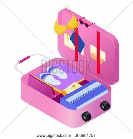 Packed Suitcase On Wheels For Summer Holidays. Pink Suitcase With Luggage In Isometric Stock Vector