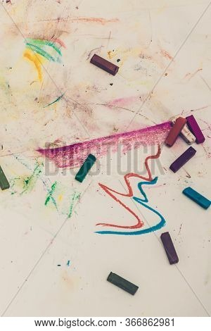 Pastel Crayons On A White Background. Multicolor Scribble Draw. Child Drawing, Toned Image