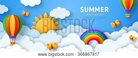 Beautiful Fluffy Clouds On Blue Sky Background With Summer Sun, Butterfly, Hot Air Balloons And Rain