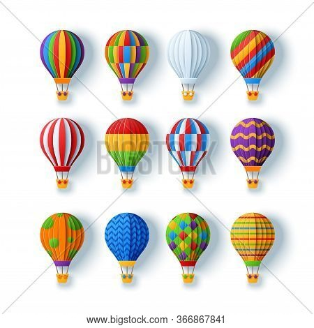 Aerostats And Hot Air Balloons Set In Paper Cut Style With Different Patterns Isolated On White Back