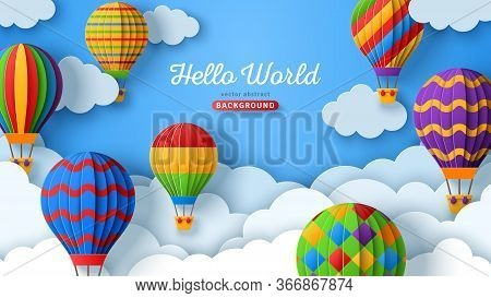 Beautiful Fluffy Clouds On Blue Sky Background With Colorful Hot Air Balloons. Vector Illustration.