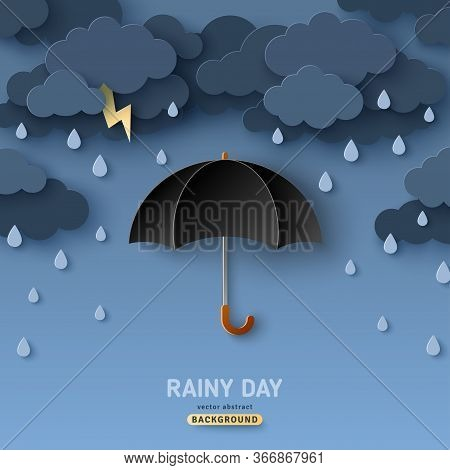 Classic Elegant Opened Black Umbrella In Paper Cut Style. Vector Illustration. Overcast Sky, Thunder