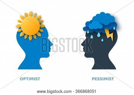 Optimist And Pessimist Psychology Concept. Vector Illustration. Blue Man Head Silhouette Isolated On