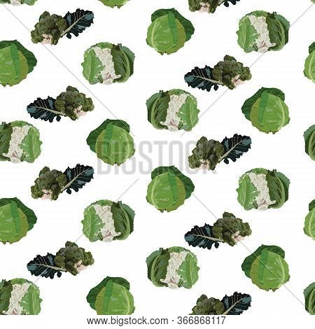 Vector Seamless Pattern With Fresh Cabbage. White Cabbage, Broccoli And Cauliflower Healthy Organic