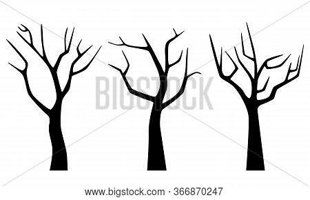 Set Black Silhouette Of Naked Winter Trees Isolated On White Background. Flat Design. Vector Illustr
