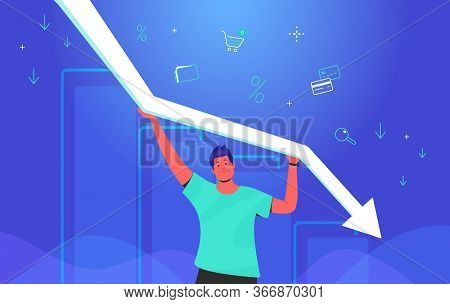 Upset Man Holding White Arrow Which Falling Down. Concept Gradient Vector Illustration Of A Guy Taki
