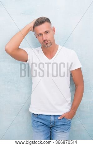 From Luxurious To Affordable. Summer Fashion. Mature Man Casual Outfit. Fashion Model. Handsome Hips