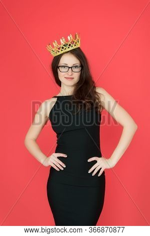 Ambitious Woman. Woman Boss Red Background. Sexy Woman Wear Luxury Crown. Pretty Woman In Formalwear