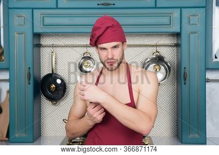 Sexy Man With Knife. Muscular Chef In Kitchen, Passing Cuisine. Desire Of Taste. Handsome Husband Co