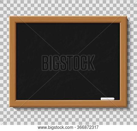 Blank Chalkboard For School Class. Wooden Blackboard With Chalk For Education In University. Board F