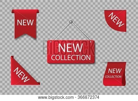 Red Label Of New Collection. Badge Of Novelty Arrival Product In Store. Exclusive Accent Ribbon For