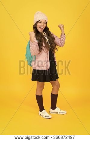 Finally Succeed. Modern Outfit. Fashion Accessory. Girl Smiling Face Little Fashionable Cutie Wear K