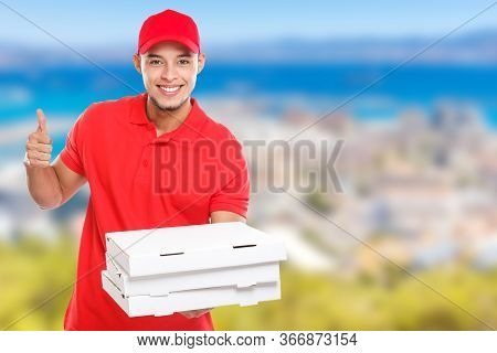 Pizza Delivery Latin Man Order Delivering Job Success Successful Smiling Deliver Copyspace Copy Spac