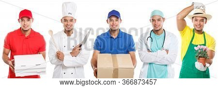 Occupations Occupation Education Training Profession Doctor Cook Young Latin Man Job Isolated On Whi