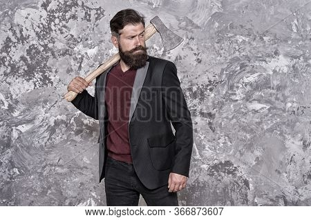 Collection Agency Or Debt Collector. Businessman With Ax. Threat To Debtors. Debt Collection Is Proc