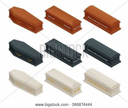 Isometric Broun, Black And White Closed Classical Expensive Coffin Isolated On White. Coffin Hallowe