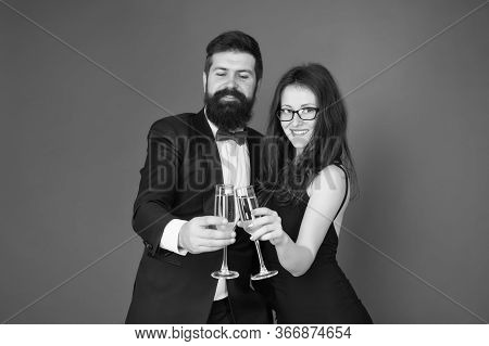 Get Into Holiday Mood. Happy Family Celebrate Valentines Day. Couple In Love Raise Champagne Glasses