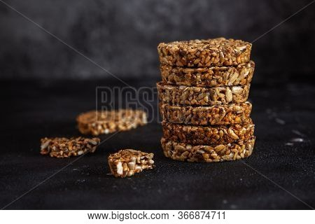 Caramel Peanut Brittle From Sunflower Seeds And Sesame Seeds And Fitness Cookies With Flax Seeds On