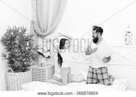 Energetic And Positive. Energetic Daughter And Father Play Game. Pillow Fight. Happy Family In Energ