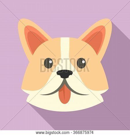 Sad Corgi Dog Icon. Flat Illustration Of Sad Corgi Dog Vector Icon For Web Design