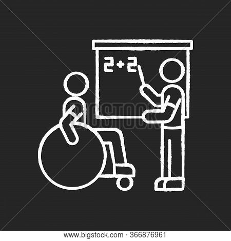 Inclusive Education Chalk White Icon On Black Background. Assistastance For Person With Disability.