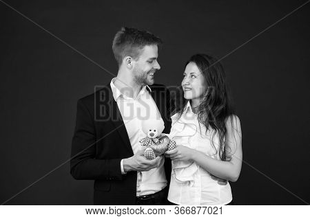 Couple In Love Celebrate Valentines Day. Surprise. Flirting And Dating. Love And Romance. Gift With