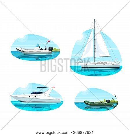 Boat For Recreation Semi Flat Vector Illustration Set. Boat In Ocean For Rental. Regatta For Summer